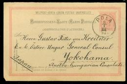 HANDGESCHRIEBEN * CONSUL * Carte Postale * AUSTRIA * ÖSTERREICH * Gelopen In 1893 Von POLA Nach YOKOHAMA JAPAN (11.445u) - 1850-1918 Keizerrijk