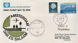 Netherlands First Flight Cover, Amsterdam - Dar Es Salaam - Postal History