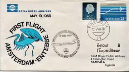 Netherlands First Flight Cover, Amsterdam - Entebbe - Postal History