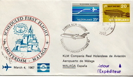 Netherlands First Flight Cover, Amsterdam - Malaga - Postal History