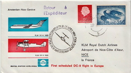 Netherlands First Flight Cover, Amsterdam - Nice - Geneve - Postal History