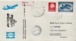 Netherlands First Flight Cover, Amsterdam - Bucharest - Postal History