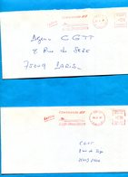 """Marcophilie-2   Lettres """"AIR FRANCE""""voyagé En 1987""""-flamme Concorde"""" E M A Rouge-dont 1 En Prépayés - Marcophilie (Lettres)"""