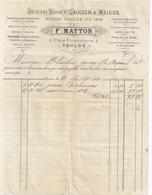 FOURNITURE POUR LA MARINE -F. MATTON  TOULON  + TRAITE 1881 - France