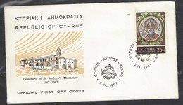 Cyprus FDC, 1967, Centenary Of St Andrew's Monastery - Cyprus (Republic)