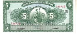 Perù P.83 5  Soles 1965 Unc - Perù