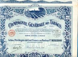 """ACTION-Privilégiée- Illustrée -"""" Cie Générale Des Tabacs"""" 100francs 1927- Coupons Attachés- - Agriculture"""