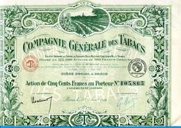 """ACTION-- Illustrée -"""" Cie Générale Des Tabacs"""" 500francs 1921- Coupons Attachés- - Agriculture"""