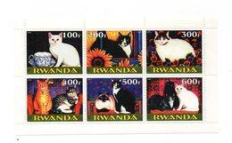 """RWANDA - Foglietto Tematica """" Animali - Gatti """" - 6 Valori - Nuovo - Vedi Foto - (FDC12541) - Rwanda"""