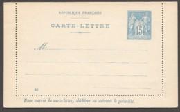Carte-lettre  Type Sage 15 Cent Bleu Sur Azuré  132 X 80mm  Date 823  Piquage C  Neuve - Entiers Postaux
