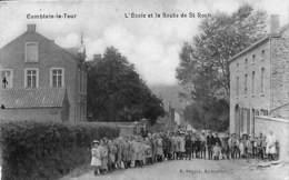 Comblain-la-Tour - L'Ecole Et La Route De St Roch (top Animation, Edit Desaix 1911) - Hamoir