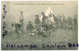 - Scoutisme - 5 Camp Des  Eclaireurs Français - Tente Conique, Cuisine, Faisceaux De Batons, écrite, TTBE, Peu Courante. - Scoutisme
