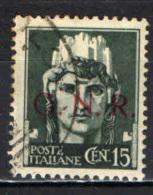 ITALIA RSI - 1944 - EFFIGIE DEL RE VITTORIO EMANUELE III CON SOVRASTAMPA GNR - VALORE DA 15 CENT. - USATO - Usados