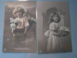 Schönes Mädchen Motiv, Mädchen, Portrait, Fillet, Girl, Child  2alte Karte Einmal Gelocht Fotos 1915 - Abbildungen