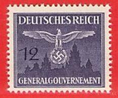 MiNr.28 Xx  Deutschland Besetzungsausgaben II. Weltkrieg Generalgouvernement Dienstmarken - Besetzungen 1938-45