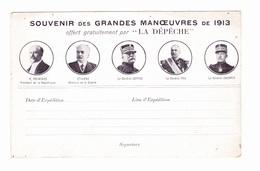 """Souvenir Des Grandes Manoeuvres De 1913 Offert Gratuitement Par """"la Dépêche"""" - Cartes De Franchise Militaire"""
