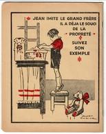 Cahier D'écolier 1951, Oeuvre Nationale Belge De Défense Contre La Turberculose, Dos Illustré Par James Thiriar - Buvards, Protège-cahiers Illustrés