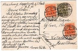Postkarte Marburg Lahn 1921 Deutschland Rathaus Und Marktplatz Schweiz Liestal - Brieven En Documenten