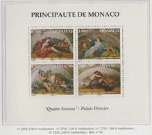 Monaco Bloc N° 87 ** Quatre Saison Palais Princier - Blocks & Kleinbögen