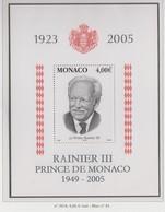 Monaco Bloc N° 91 ** A La Mémoire De Rainier III - Blocks & Kleinbögen