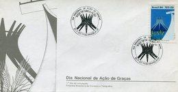 SOBRE MATASELLO DIA NACIONAL DE AÇAO DE GRACIAS BRASILIA BRASIL 1° DIA DE CIRCULAÇAO 1984 FDC -LILHU - Brazil