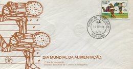 SOBRE MATASELLO DIA MUNDIAL DA ALIMENTAÇAO MINAS GERAIS BRASIL 1° DIA DE CIRCULAÇAO 1981 FDC -LILHU - Brazil