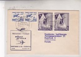 FIRST FLIGTH-BOEING JET 720b SANTIAGO D CH~ZUERICH OBLITERE SANTIAGO 1961. STAMP A PAIR - BLEUP - Chile