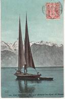 LAC LEMAN - Barque Devant Les Alpes - Evian-les-Bains
