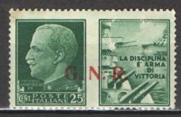 ITALIA RSI - 1944 - PROPAGANDA DI GUERRA - 25 C. -  MH - 4. 1944-45 Repubblica Sociale