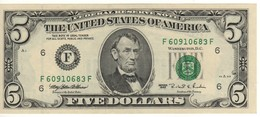 USA   $ 5    Dated 1995 Letter F    P498   UNC - National Currency