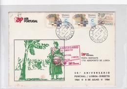 TAP AIR PORTUGAL, 20 ANIVERSARIO VOO DIRECTO LISBOA FUNCHAL, 1984. STAMP A PAIR. PORTUGAL- BLEUP - Airmail
