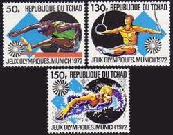 Chad, 1972, Olympic Summer Games Munich, Hurdles, Gymnastics, Swimming, MNH, Michel 550-552 - Chad (1960-...)