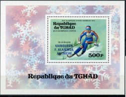 Chad, 1976, Olympic Winter Games Innsbruck, Sports, Skiing, MNH Blue Overprint, Michel Block 63A - Ciad (1960-...)