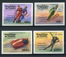 Chad, 1976, Olympic Winter Games Innsbruck, Sports, MNH Imperf Blue Overprint, Michel 731-734B - Chad (1960-...)