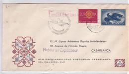 KLM FIRST FLIGTH AMSTERDAM-CASABLANCA OBLITERE 1960. NEDERLAND- BLEUP - Airmail
