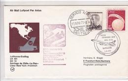 LUFTHANSA LH 491 DC 10 SANTIAGO DE CHILE~LA PAZ~LIMA~NEW YORK~ FRANKFURT FIRST FLIGHT 1975. CHILE- BLEUP - Airmail