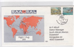 SAA SAL SOUTH AFRICAN AIRWAYS FLIGHT 265 JAM SMUTS AIRPORT  1994. FIRST FLIGTH- BLEUP - Airmail