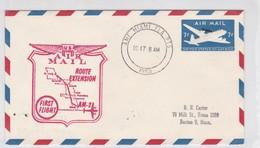 US AIR AIL ROUTE EXTENSION FIRST FLIGHT AM 2 OBLITERE MIAMI 1953, USA- BLEUP - Air Mail