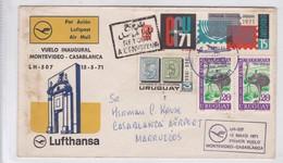 VUELO INAGURAL MONTEVIDEO~CASABLANCA LH507 LUFTHANSA MIXED STAMPS 1971, URUGUAY- BLEUP - Uruguay
