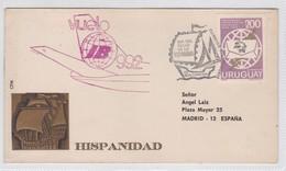 HISPANDAD, VUELO IB 992. DIA DEL SELLLO DE LA HISPANDAD, CORREOS DEL URUGUAY 1974- BLEUP - Uruguay