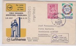 FIRST FLIGHT MONTEVIDEO~CASABLANCA LH 507 LUFTHANSA 1971, CORREOS DEL URUGUAY- BLEUP - Uruguay