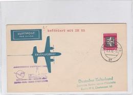 FIRST FLIGHT LUFTHANSA ALTES BATHAUS~LEIPZIG~KARL~MARX~ STADT 1958. DDR GERMANY- BLEUP - [6] Democratic Republic