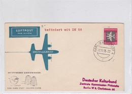 FIRST FLIGHT LUFTHANSA TEXTILSTADT~KARL~MARX~ STADT~DRESDEN 1958. DDR GERMANY- BLEUP - [6] Democratic Republic