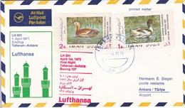 LUFTHANSA FIRST FLIGHT LH 601 TEHERAN~ANKARA BOEING 727 1971. IRAN- BLEUP - Iran