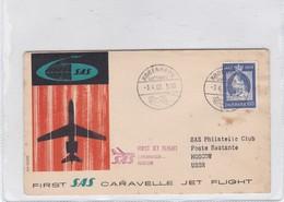 FIRST SAS CARAVELLE JET FLIGHT COPENHAGEN~MOSCOW URSS 1960. DENMARK- BLEUP - Airmail