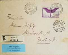 L) 1927 SWITZERLAND, ICARUS, VIOLET, 1 FRANC, AIRMAIL, XF - Switzerland