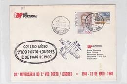 TAP AIR PORTUGAL, 20° ANIVERSARIO DO 1°VOO PORTO~LONDRES 1980, PORTUGAL- BLEUP - Airmail
