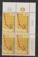 ISRAEL Scott # 218 MNH Plate Block - Anti Malaria - Israel
