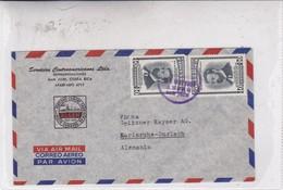 AIRMAIL CIRCULEE COSTA RICA TO GERMANY. SERVCIOS CENTROAMERICANOS LTDA. OBLITERE 1959 STAMP A PAIR- BLEUP - Costa Rica