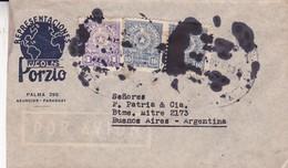 AIRMAIL CIRCULEE PARAGUAY TO BUENOS AIRES OBLITERE 1953. REPRESENTACIONES NICLAS PORZIO. STAMP A PAIR 2 COLOURS.- BLEUP - Paraguay